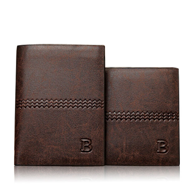3 Size Long Short Letter Print Vintage Leather Wallets For Men Luxury Brand Cente Bifold Purses Men Casual Clutch ID Card Pocket(China (Mainland))