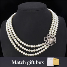 Austrian Rhinestone Necklace 3 Layers Luxury Flower Synthetic Pearls Beads Necklace Choker Necklace Jewelry For Women MGC N5120(China (Mainland))