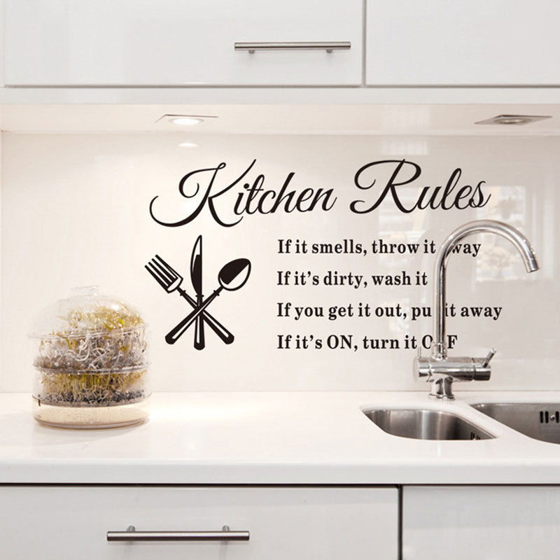 HOT Sell 33*57cm Art PVC Wall Sticker For Store Fiving Room Kitchen Rule Warning Mark Meal Dinner Service Knive And Fork(China (Mainland))