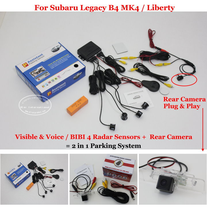 For Subaru Legacy B4 MK4 / Liberty - Car Parking Sensors + Rear View Camera = 2 in 1 Visible & Vioce / BIBI Alarm Parking System(China (Mainland))