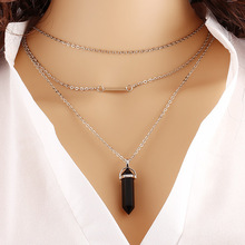 Fashion Jewelry Hexagonal Column Necklace Natural Quartz turquoise Agate Amethyst Stone Pendant Necklace Valentine s Day