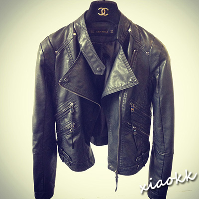 New fashion 2015 bomber motorcycle Leather jackets women black brand jacket jaqueta couro(China (Mainland))