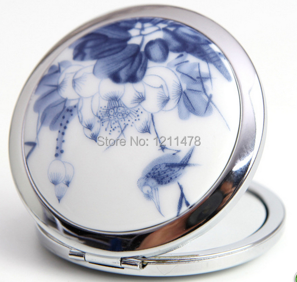 Vintage ceramic + metal compact portable cosmetic mirror for makeup(China (Mainland))
