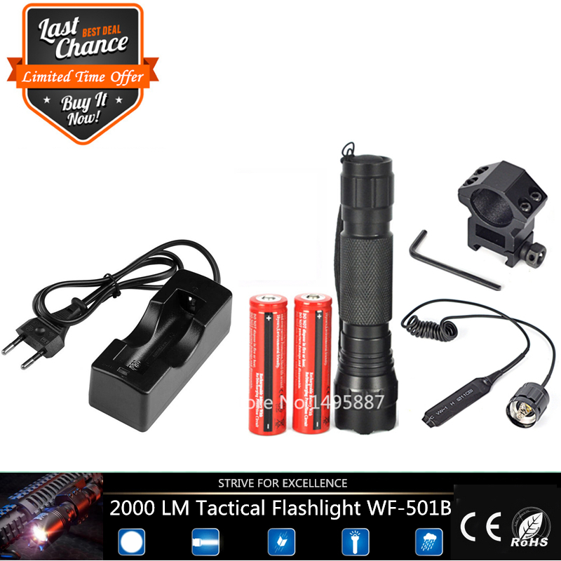Tactical Flashlight 2000 lumens T6 501B Hunting Rifle Torch Shotgun lighting+Tactical mount+Remote switch+Battery+Charger(China (Mainland))