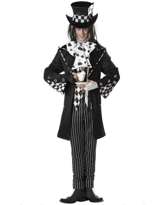 Magician Fancy Dresses Adult Black/White Mad Hat Halloween Party Fun and Fantasy Full Outfit Costumes For Men Brand New w/ Hat(China (Mainland))