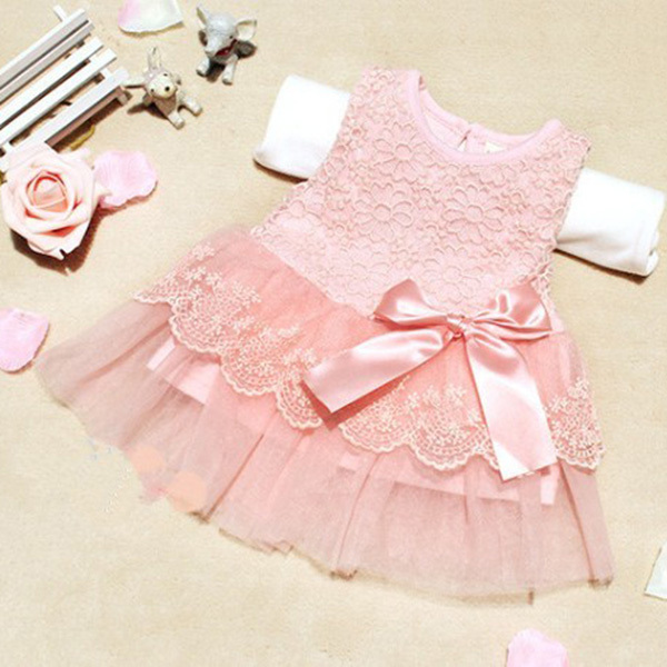 baby girls dresses children clothing cotton ball gown dress kids bow lace princess clothes high quality(China (Mainland))