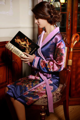 Dressing gown spa robes Luxury heavy silk Satin sleepwear thicken bathrobe women 100% natural pajama kimono winter - S&C- Hangzhou Store store