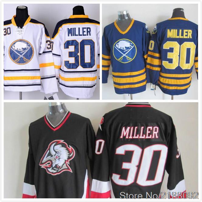 #30 Ryan Miller Jersey Navy Blue Black white Embroidery Vintage Throwback Ice Hockey Jersey(China (Mainland))