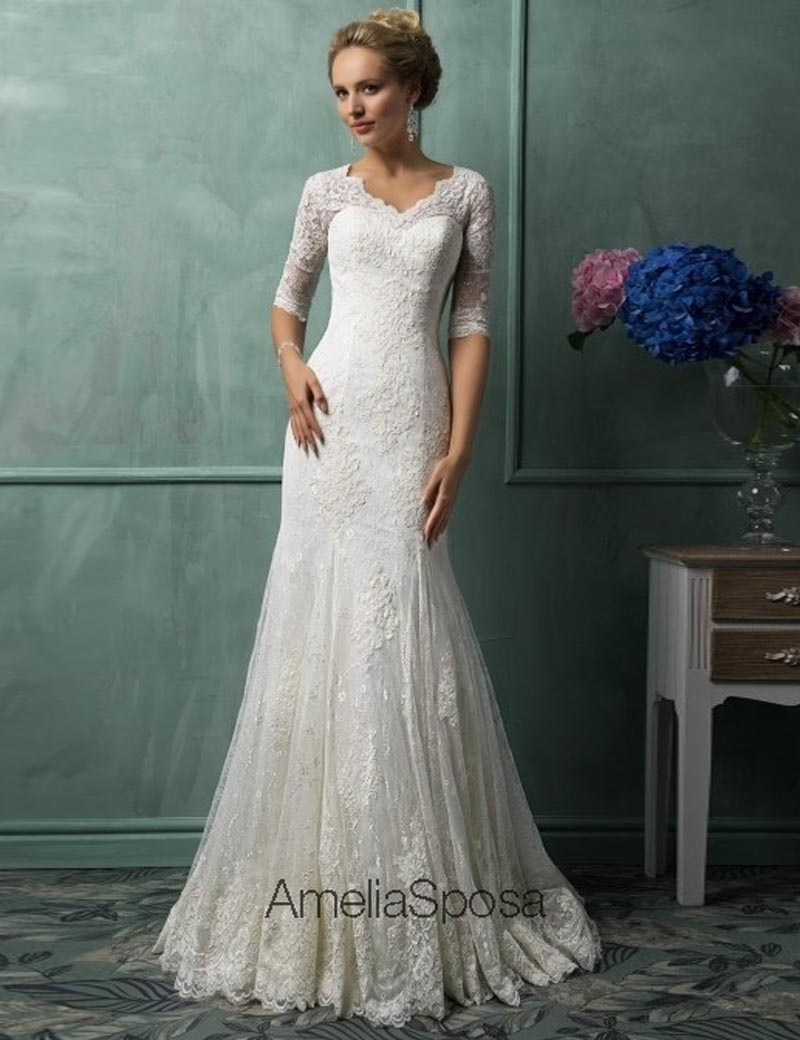 Popular colored wedding gowns buy cheap colored wedding for Plus size mermaid wedding dresses with sleeves
