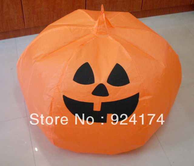 1Lot 50pcs HOT SALES luminary Pumpkin shape fly sky lantern wholesale for halloween with CE TUV ceitification