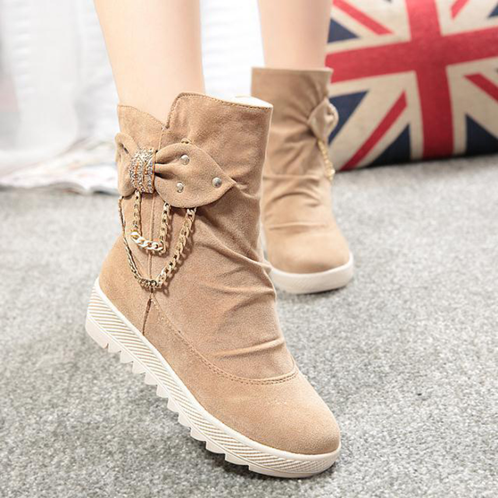2015 Women Autumn Boots Metal Chain Decorate Korean Ankle Shoes Wedge Heel Round Toe Combat Boots  LP037<br><br>Aliexpress