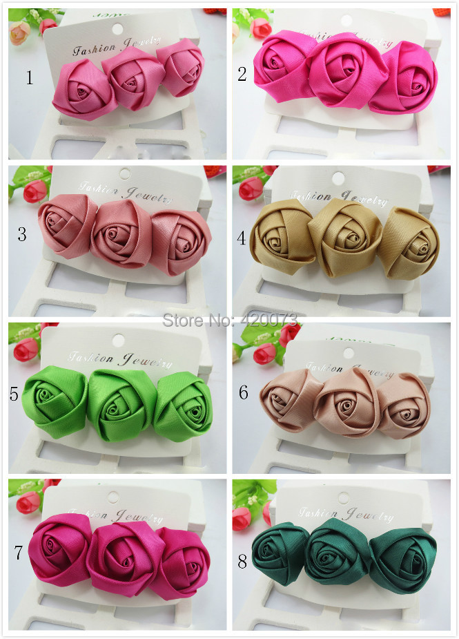 Free Shipping 10 Pcs/lot Solid Satin Hair Flower With Clip,Boutique Three Flower With France Clip,Handmade Hair Flower For Baby(China (Mainland))