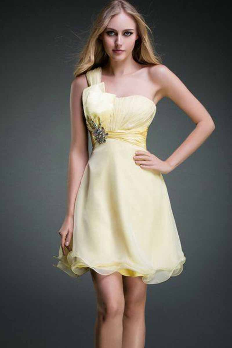 Hot sale short one shoulder yellow bridesmaid dresses 2015 for Yellow wedding dresses for sale