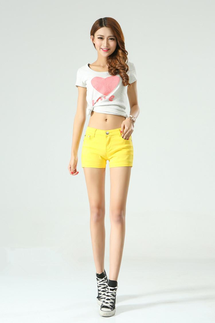 WomensDate 2016 New Arrival Summer Denim Shorts Women Cotton Short Jeans Pants Girl Sexy Slim Hip Short Pants Yellow Jeans Pants