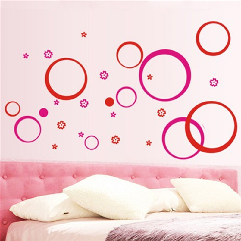 "Best Promotion DIY Clearance-Wall Sticker ""Circles"" Removable Living Room TV/Sofa Background DIY Wallpaper 10 Colors(China (Mainland))"