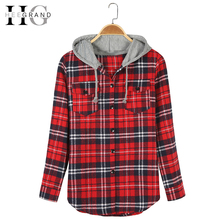 HEEGRAND Plaid Hooded Casual Spring Blouse 2016 Women Shirts Tops Full Sleeve Pockets Slim Cotton 2XL Good Quality Blusas WCL563(China (Mainland))