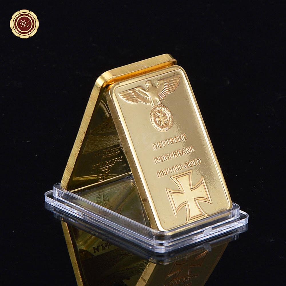 WR Fake 999 Gold Bar 24k Gold Plated German Gold Bullion Bar Iron Cross Bullion Bar with Clear Acrylic Capsule(China (Mainland))