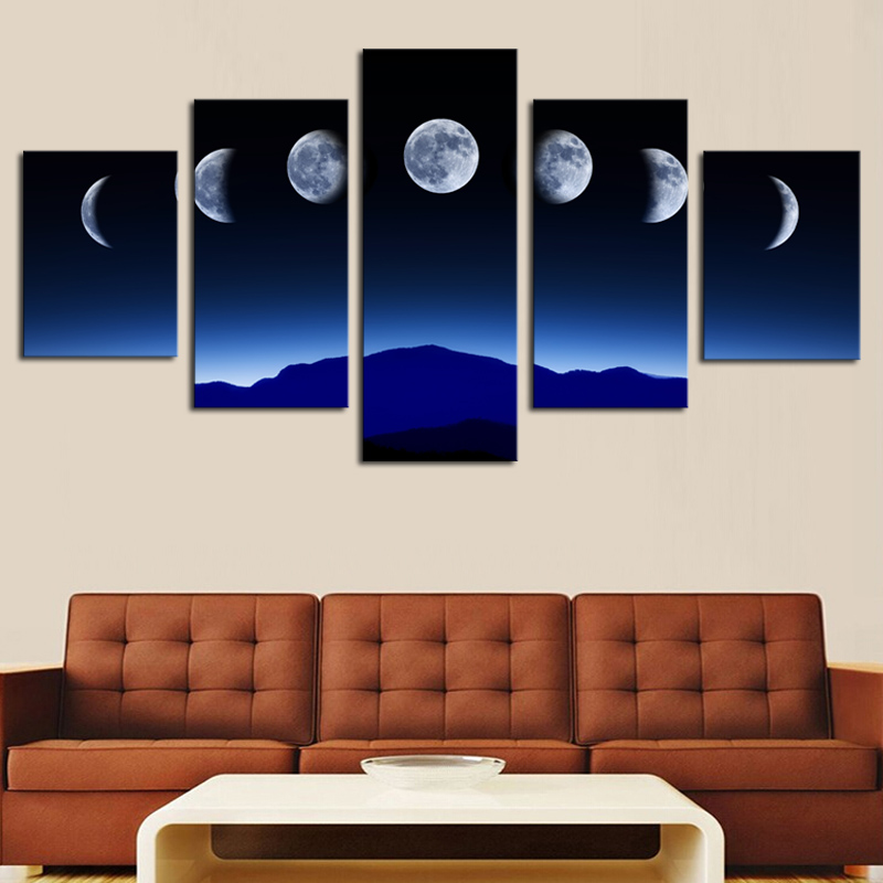 Unframed 5 Panels Abstract Blue Sky Moon Wall Art HD Picture Print On Canvas Painting For Home Decor(China (Mainland))