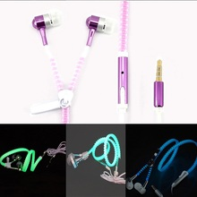 2015 New Metal Zipper Earphone luminous Glow In The Dark Earphones auriculares With mic for Apple samsung mobile phone mp3