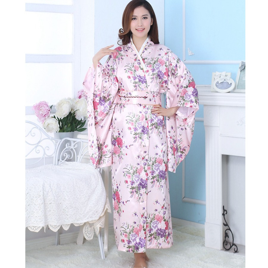 Hot Sale Pink Japanese National Women Evening Dress Printed Kimono Gown Yukata With Obi Cosplay Costume Flower One Size