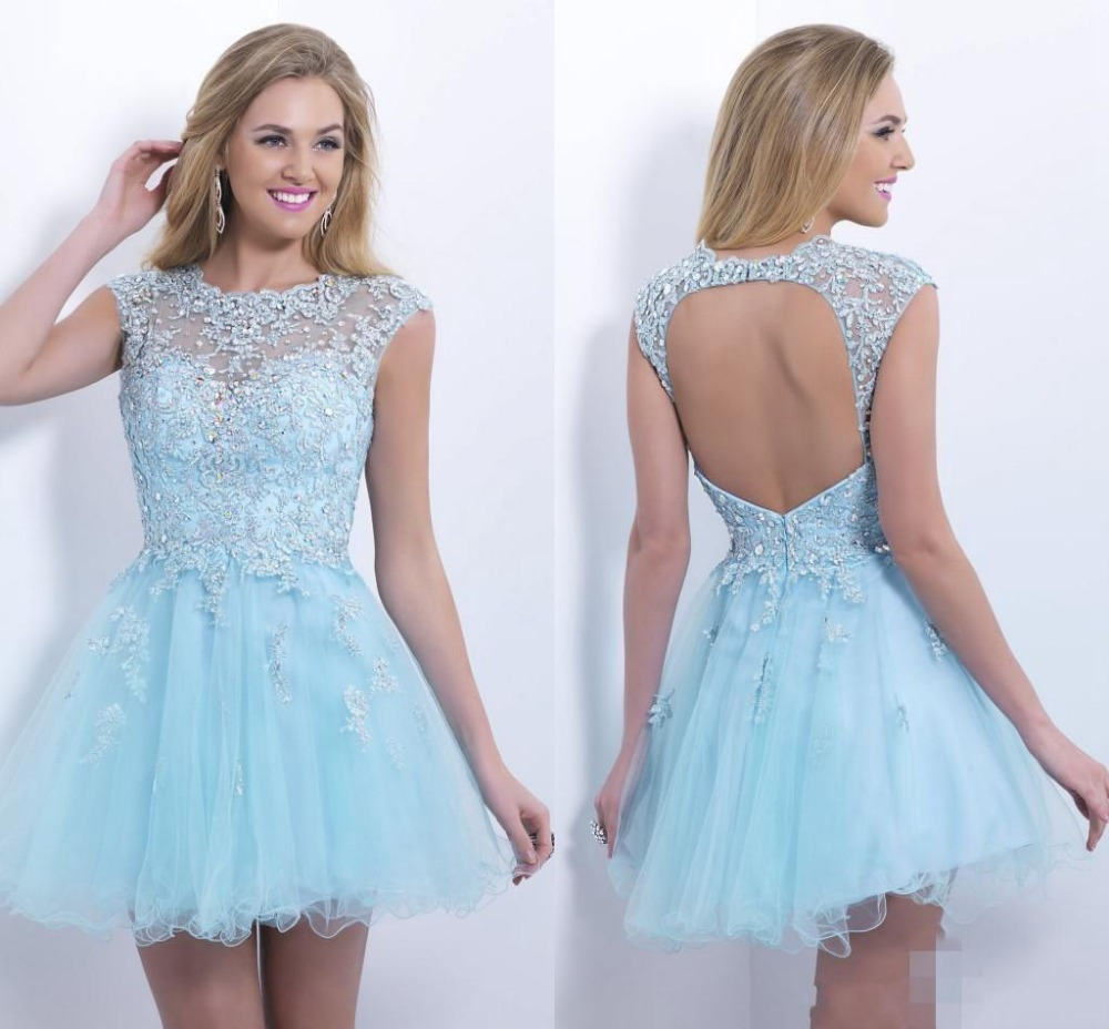 2015Sweetheart Ball Gown Baby Blue Homecoming Dresses Sexy ...