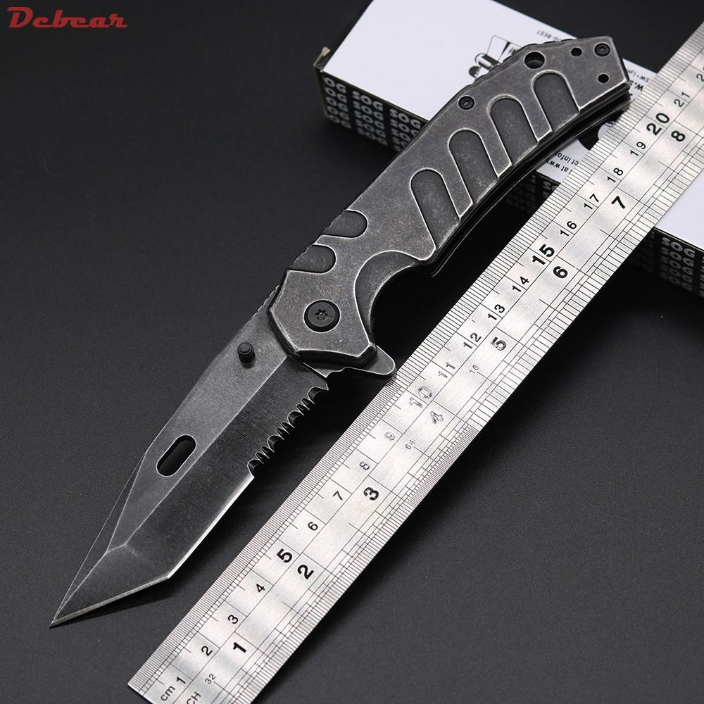 Buy Dcbear New Pocket Tactical Folding Knife 440C Steel Blade Stone Wash Surface Knife Cryo Hinderer Design Survival Hunting Knives cheap