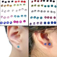 20 Pairs Women's 5mm Clear/Multicolor Crystal Allergy Free Ear Studs Earrings 08S9(China (Mainland))