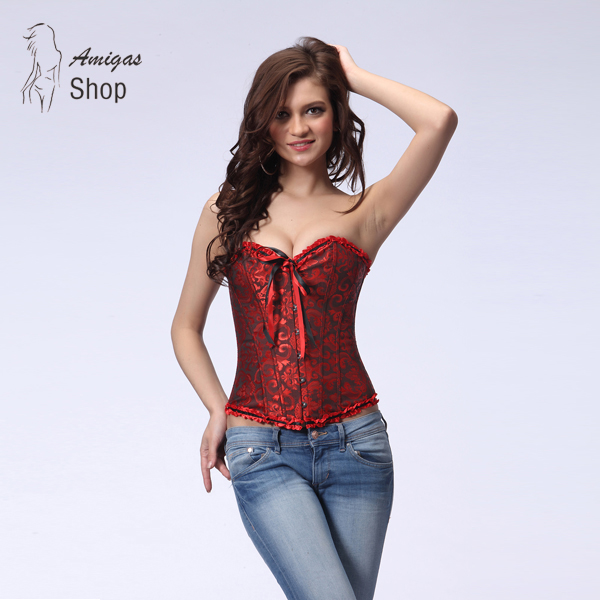 Newest Sexy Lingerie Steel Bustiers Satin Embroidered Lace Up Corset Overbust Corsets 5 Colors Waist Cincher For Female 2550(China (Mainland))
