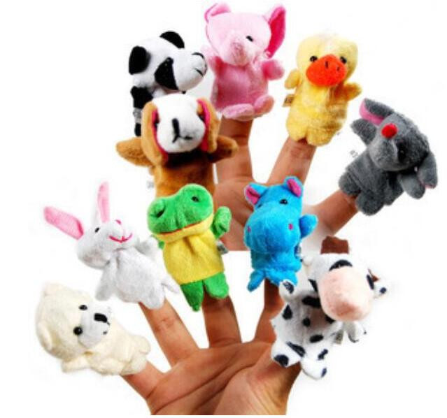 10 pcs/set Cartoon Animal Velvet Finger Puppet Finger Toy Finger Doll Baby Cloth Educational Hand Toy Story(China (Mainland))