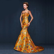 2016 Elegant Luxury Yellow Cheongsam Chinese Traditional Dress Long Qipao Evening Gowns China Dresses