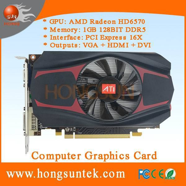 Free Shipping 100% NEW AMD Radeon HD 6570 1GB DDR5 PCI-Express Video Gaming Graphics Card dropshipping with tracking number(China (Mainland))