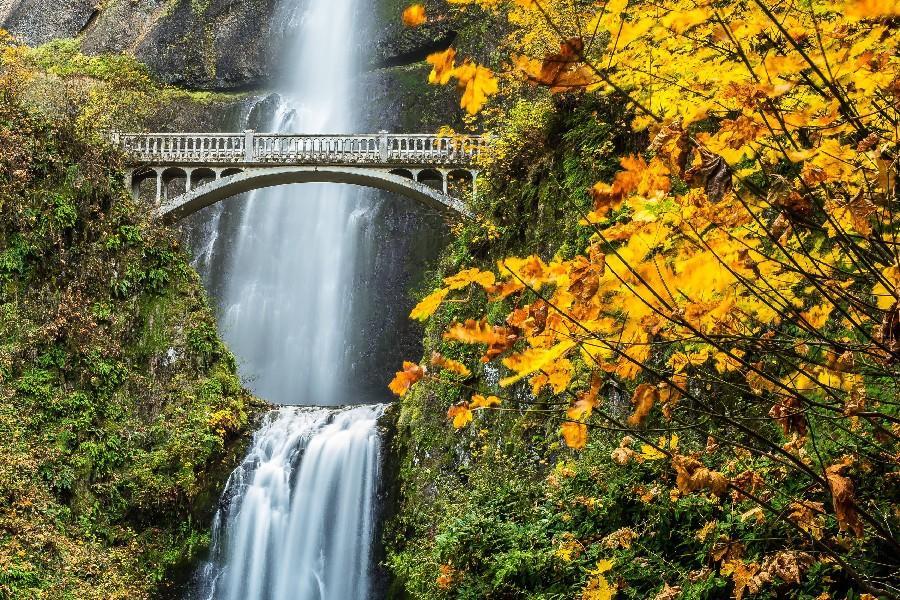 Multnomah cai rio de colômbia desfiladeiro Oregon cachoeira outono poster tecido pano de seda parede poster impressão(China (Mainland))