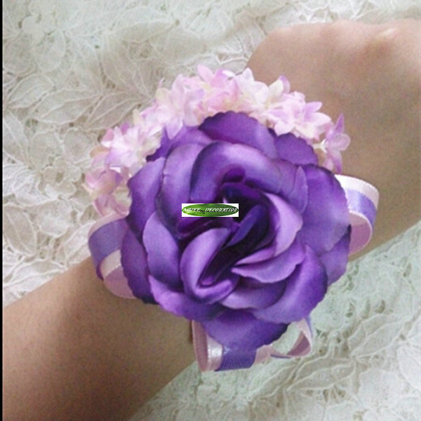 2015 Fabric 6pcs Handmade Wedding Marriage Church Dancing Decor Boutonniere Artificial Rose Corsage Wrist Flower F5113(China (Mainland))
