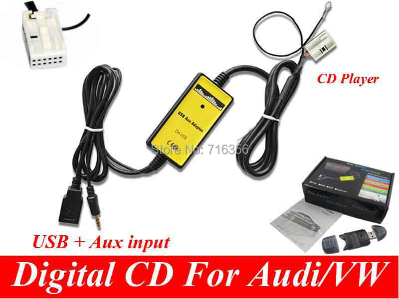 3.5mm AUX MP3 Adapter usb disk Digital Music CD interface audio media Changer For VW Audi Skoda Seat Quadlock 12PIN(China (Mainland))