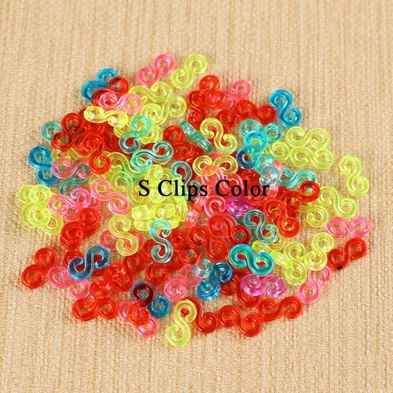 1000pcs S Clips & C lips for Loom Rubber Bands DIY Bracelet Loom Bands Accessories Diy S Clips Diy Loom Bands C Clip Plastic Hot(China (Mainland))