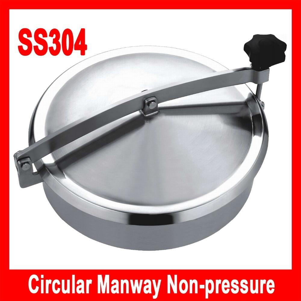 350mm SS304 tank manhole Round manhole cover non pressure, Height:100mm(China (Mainland))