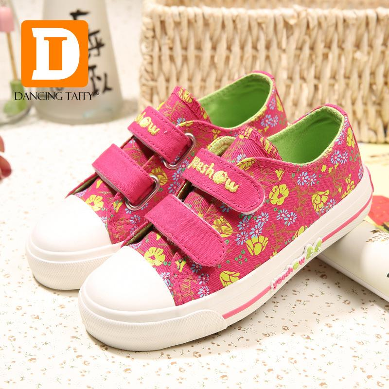 2016 new spring fashion girls shoes print flowers canvas rubber children shoes girls sneakers autumn fabric casual kids shoes<br><br>Aliexpress