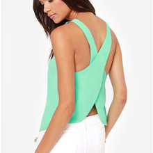 2015 New Summer Sleeveless Spaghetti Strap Casual Tops Sexy  Backless Women Blouse Shirts