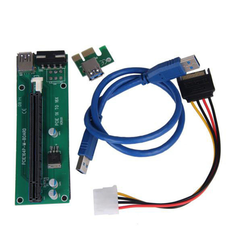 2016 Free Shipping PCI-E Express Powered Riser Card W/ USB 3.0 extender Cable Power Supply 1x to 16x Monero SATA Cable(China (Mainland))