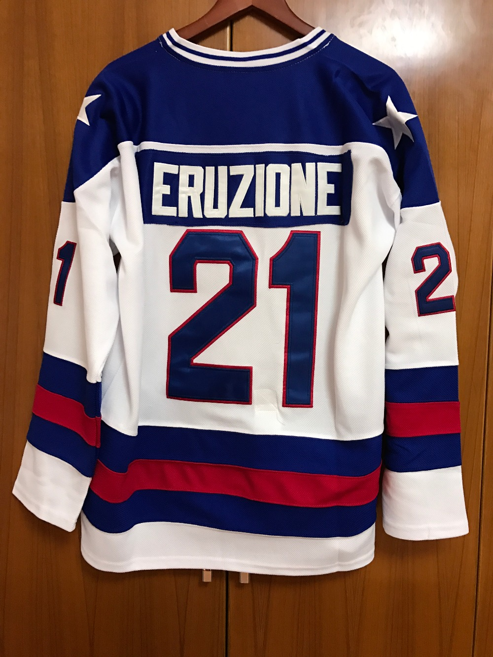 1980 Miracle On Ice Team USA Mike Eruzione 21 Hockey Jersey White All stitched(China (Mainland))
