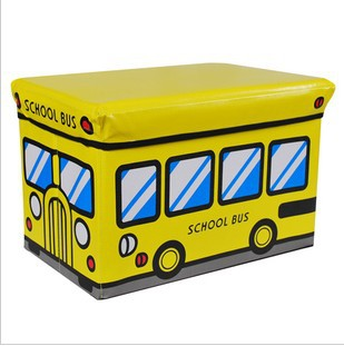 Home multifunctional car storage stool use toy storage stool storage box - - Large yellow school bus