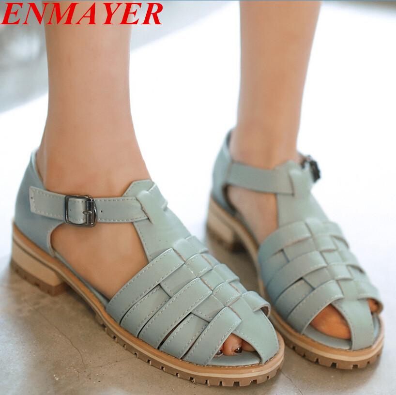 ENMAYER grade PU Buckle T-Strap women Sandals Rome Casual Platform Sandals five colors large size:34-43 Fretwork shoes Sandals