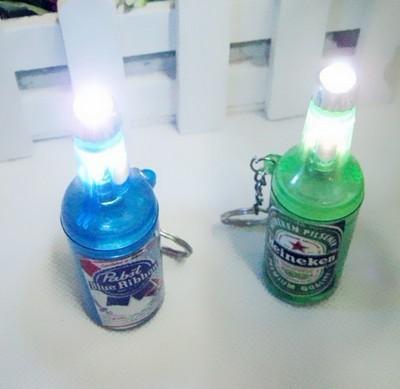 Simulation Wine Bottle And Bottle Opener Mini  Light LED Flashlight  Key Chains Ring Keyrings Free shipping