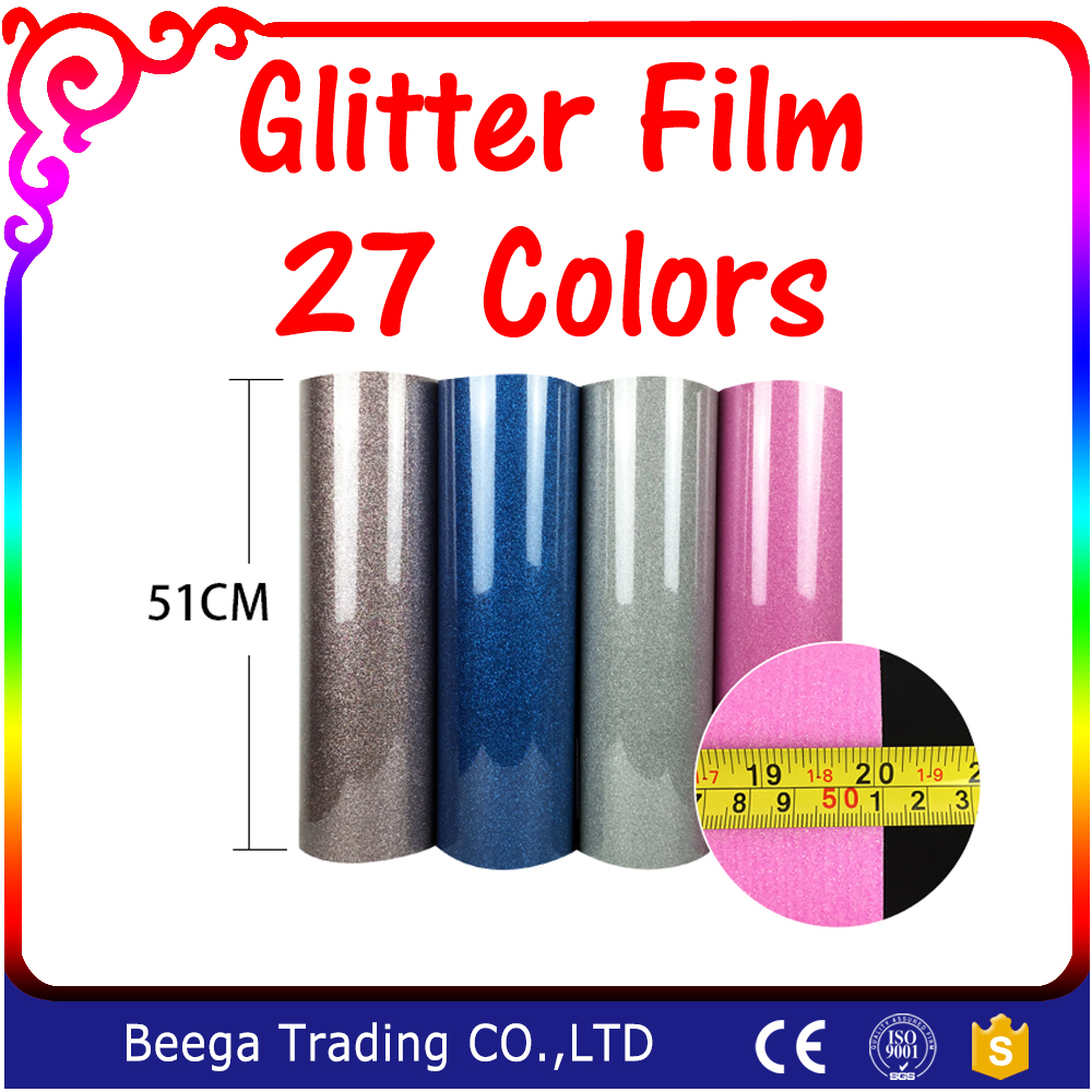 One Yard (51cmx100cm) Glitter Heat Transfer Vinyl Film Heat Press Cut by Cutting Plotter DIY T-shirt 27 Colors For Choosing(China (Mainland))