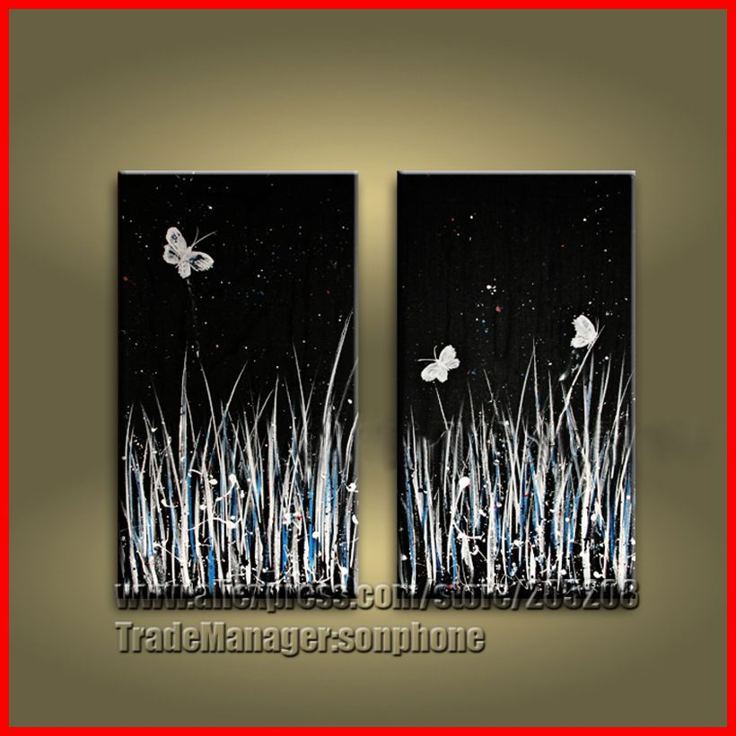 The gallery for black butterfly wall art for Black canvas painting ideas