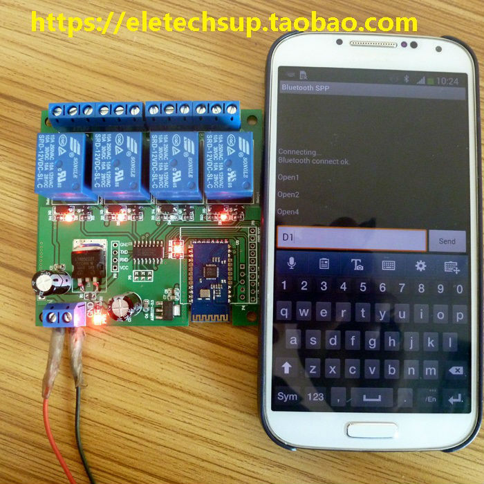 12V 4 Channel Bluetooth Relay Android Mobile Remote control Switch for Motor LED Light Lock NET(China (Mainland))
