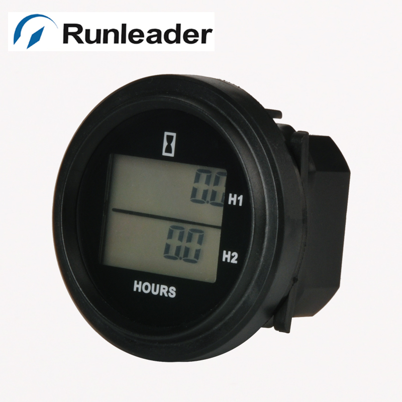 Digital Reset DC LCD double snap on round Hour Meter for FORKLIFT Outboard Motor Gas Diesel Generator lawn mower tractor engine<br><br>Aliexpress