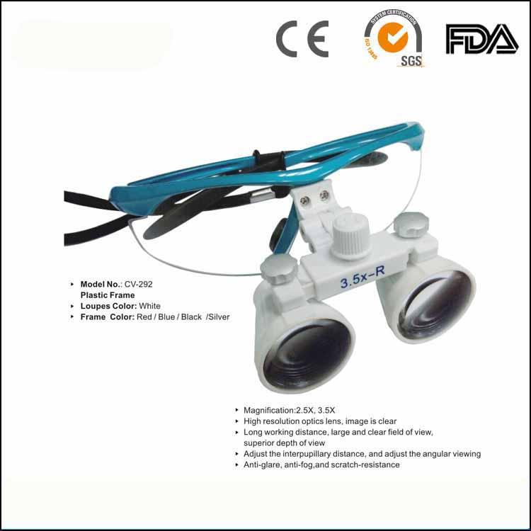 2.5X, 3.5X Long working distance Anti-glare High resolution optics lens dental magnifier