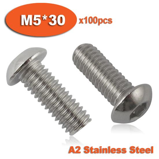 100pcs ISO7380 M5 x 30 A2 Stainless Steel Screw Hexagon Hex Socket Button Head Screws<br><br>Aliexpress