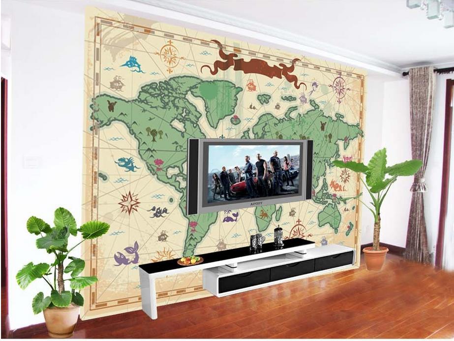 Wereldkaart muurschildering koop goedkope wereldkaart muurschildering loten van chinese - Muur decoratie volwassen kamer ...